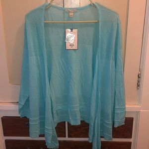 Dana Buchman cardigan in a beautiful aqua color